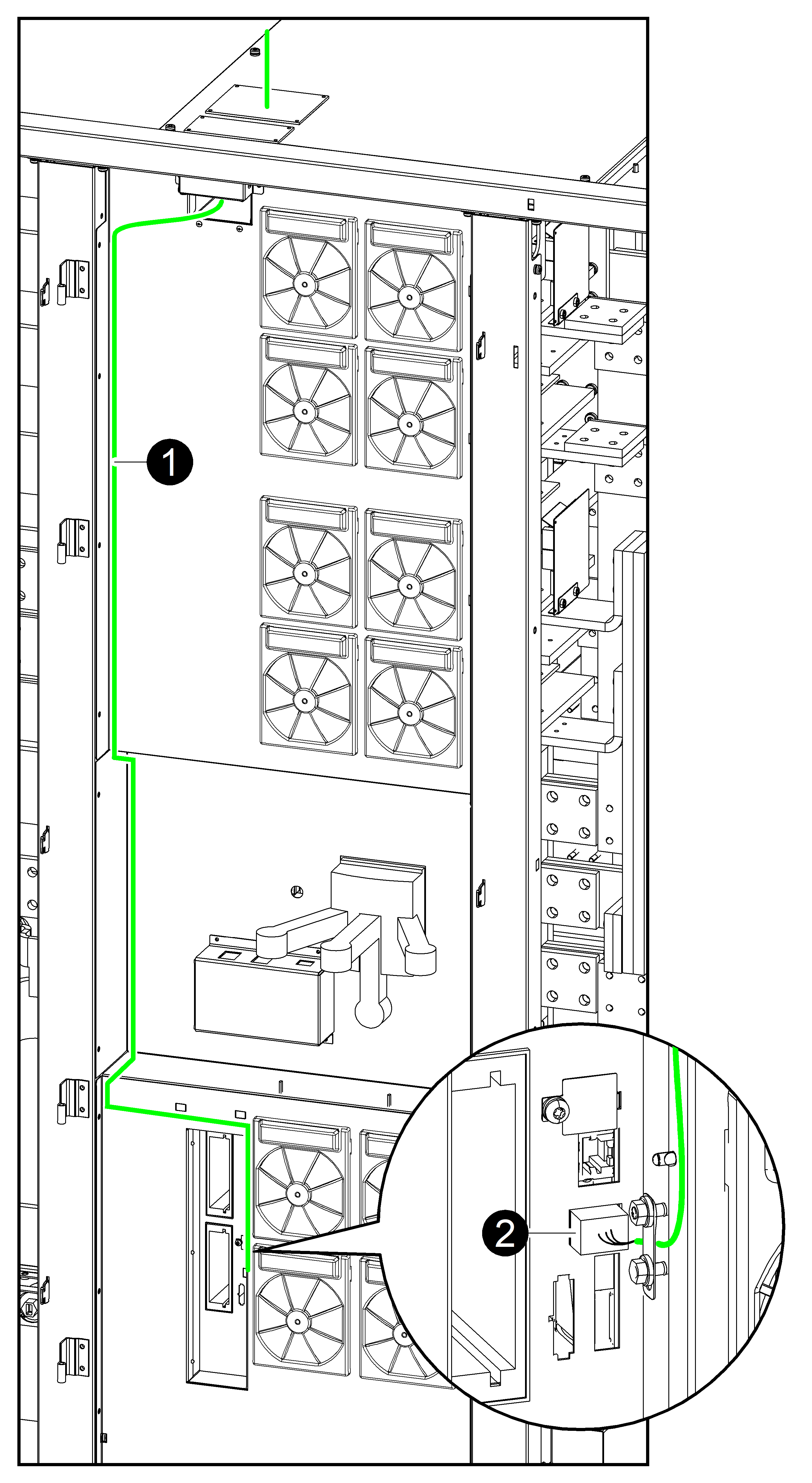 Connect The Modbus Cables Galaxy Vx Technical Manuals 480 V Wiring Connection Diagram Front View Of I O Cabinet In Top Cable Entry Systems